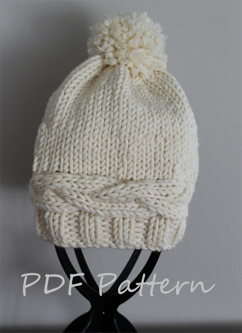 KNITTING PATTERN Adult Pom Pom Hat PDF knitting pattern 209f94503ec