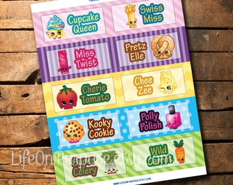 Shopkins Party Food Tags