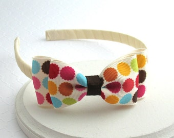 Girls Autumn ~ Thanksgiving Headband, Bow Headband, Toddler, Big Girl, Adult Polka Dot Ivory Bow Headband