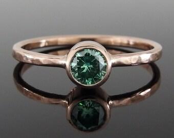 Green Moissanite and 14k Rose Gold Ring, Green Moissanite Ring, Moissanite and Rose Gold Engagement Ring, 14k Rose Gold Stacking Ring