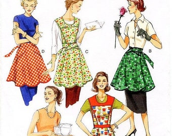 ON SALE Vogue Apron Sewing Pattern V8740 -  Misses' 50's Retro Style Bib or Waist Aprons - All Sizes Included Pattern