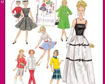 Doll Clothes Pattern - Simplicity 5785 - Simplicity Archives Vintage Reproduction Pattern For 11 1/2 Inch Barbie Dolls - One Size Pattern