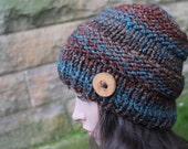 HAT knitted chunky - Big softie hat in brown teal shade, winter hat brown multicolour vegan, womens gift, UK