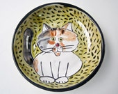 Calico Grey Orange White Cat Ceramic Feeding Dish - Shallow Bowl - Clay Pet Dish - Pottery Majolica Handmade Olive Green - Cat Dish
