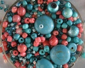 KIT Turquoise and Coral Beaded Wrap Memory Wire Bracelet KIT