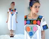 70s Mexican Dress  //   Embroidered Dress  //  THE CASCABEL