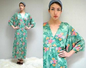 Angel Sleeve Dress // 70's Caftan Dress // FLORAISON