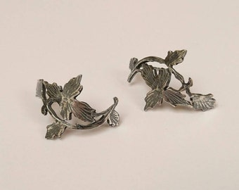 Sterling silver hand pierced leaf oxidised earrings, hallmarked in Edinburgh