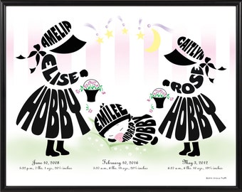 Personalized Big Sister, Little Sister with Baby Sister or Baby Brother Print, Framed Silhouette of Brothers and Sisters