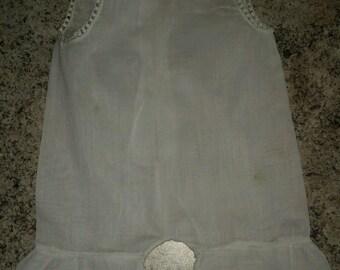 Antique white babydoll  romper- pantalette-handmade-embroidery-crochet