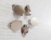 Silver Tone Earring Clip Findings - set of 10 pcs