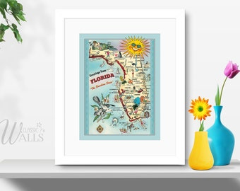 FLORIDA MAP - Instant Download, Vintage Florida Map, Postcard Map of Florida, The Sunshine State, Jacksonville, Tallahassee, Miami, Key West