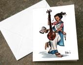 Saraswati Hindu Goddess of the Arts Card Print Art Print Blank Card 4.25 x 5.5 inches