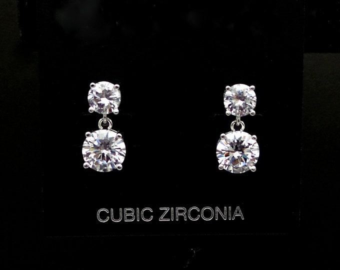 SALE multiple set of 4 5 6 7 8 pairs earrings bridesmaid gift 6mm 8mm wedding Clear white drop cubic zirconia round post diamond solitaire