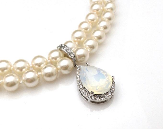 wedding jewelry bridal bridesmaid necklace prom gift pageant white opal teardrop swarovski pendant cubic zirconia deco detachable hoop