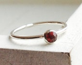 Stacking ring sterling silver ring with garnet