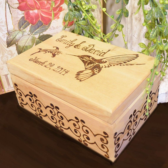 5th Anniversary, Personalized Couples Romantic Rustic Box