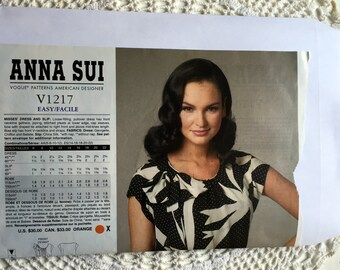 Vogue 1217 Anna Sui Dress and Slip Lingerie Pattern Sheath Pullover Designer