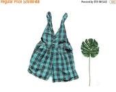 50% OFF SALE SALE vintage overalls shortalls jumper 80s romper plaid turquoise black womens plus size clothing 1x 2x