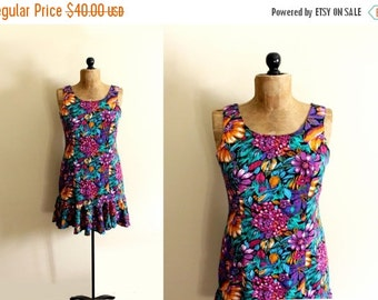 50% OFF SALE vintage dress 80s does 30s colorful floral print womens clothing flapper drop waist sleeveless party size medium m