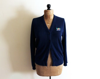 vintage sweater cardigan navy blue preppy 1960s retro clothing size medium m