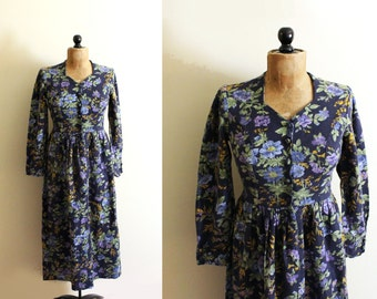 vintage dress laura ashley floral print 1980s blue long sleeve cotton clothing size small s 6