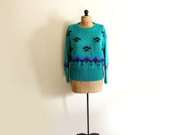 vintage sweater 1980s womens clothing emerald green big knit geometric size l xl extra large
