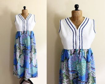 vintage dress 1960s maxi white blue retro floral print sleeveless summer ric rac womens clothing size large l extra large xl