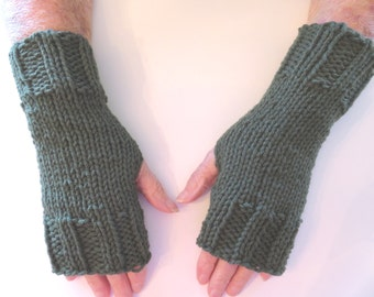 Hand Knit Fingerless Mittens/Texting Gloves - Dark Forest color  Wrist Warmers- One Size Fits All
