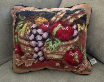 needlepoint PILLOW - bowl  of fruit, Midwest Importers