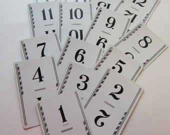 vintage playing cards - numbers 1 through 15 - great for table numbers, altered art, collage, paper arts, scrapbooking
