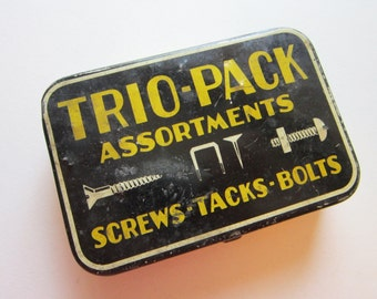 vintage hardware tin - litho tin - trio-pack for screws, tacks and bolts - vintage tin