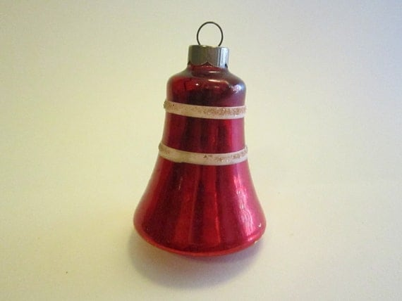 Vintage mercury glass bell ornament red with white