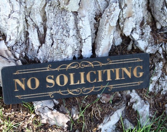 Wood No Soliciting Sign
