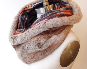 SALE! Faux Fur Cowl Scarf Tan Chinchilla with Multicolor Textured Knit