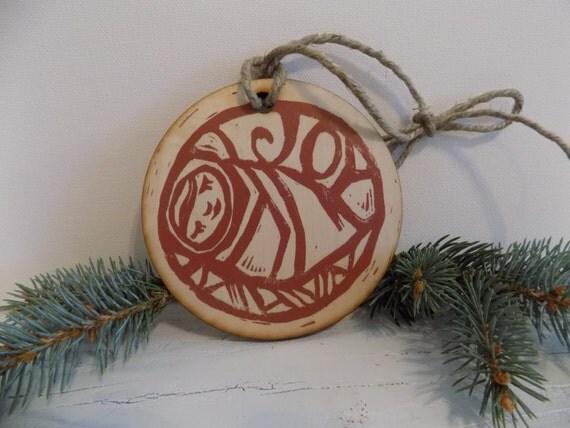 Joy - Baby Jesus Christmas Ornament - linocut relief print on wood