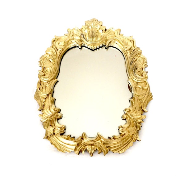 Ornate gold round mirror ornate baroque by ellasatticvintage for Baroque resin mirror
