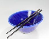 Ceramic noodle bowl rice bowl SALE, ceramic noodle bowl, pottery rice bowl, stoneware noodle rice bowl with chopsticks cobalt blue glaze