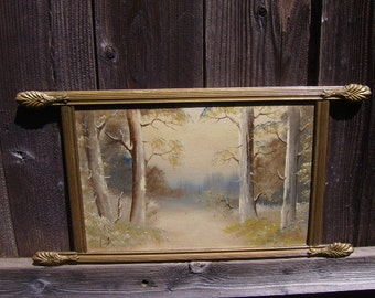 SALE-Signed Rare Wood Gilt Frame Oil on Board Painting-Rustic Outdoor Trees Scene