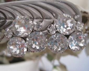 Vintage WEISS Triple Round Rhinestone Earrings Bride Bridal Wedding