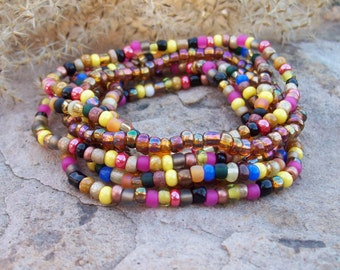 Festival Stack Bracelets, Beaded Stretch Bracelet 7 Stack Set, Bohemian Hippie, Colorful Beaded Bracelets