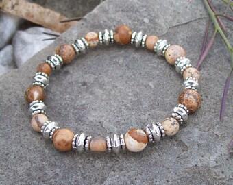Picture Jasper Awareness, Stability and Balance Stretch Meditation Bracelet, Southwestern Boho