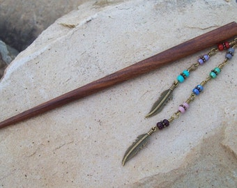 Boho Bohemian brown hair stick, hair pin, colorful beaded hairstick, dangle feather charms, decoravite hair adornment