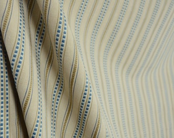 Tea Time Ecru Blue Striped Fabric