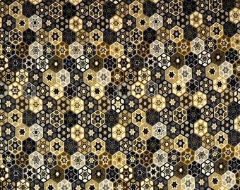 Grey Black Gold Geometric Print Fabric