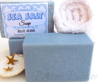 SEA SALT Soap - Blue Jeans scent with shea butter and coconut milk - spa savon sel - handmade by Bonny Bubbles