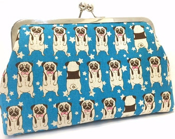what the puuug - 8 inch metal frame clutch purse - large purse- pug - dog-blue