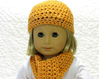 Doll Hat, Doll Scarf, American Girl, Gotz, Madame Alexander, Sasha, My Twinn, Winter Hat, Winter Scarf, Crocheted, Orange Sparkle Yarn