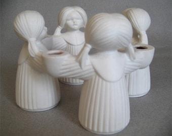 Vintage Goebel W Germany Porcelain Candleholder Little Girls Holding Hands