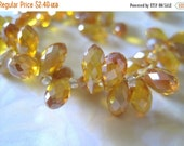 30% OFF SALE Amber Yellow Peardrop Briolette, 6mmx12mm, 6 pcs